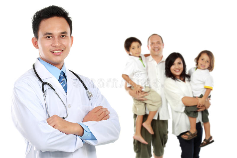 Glimlachende medische arts Het concept van de familiegezondheidszorg stock afbeelding