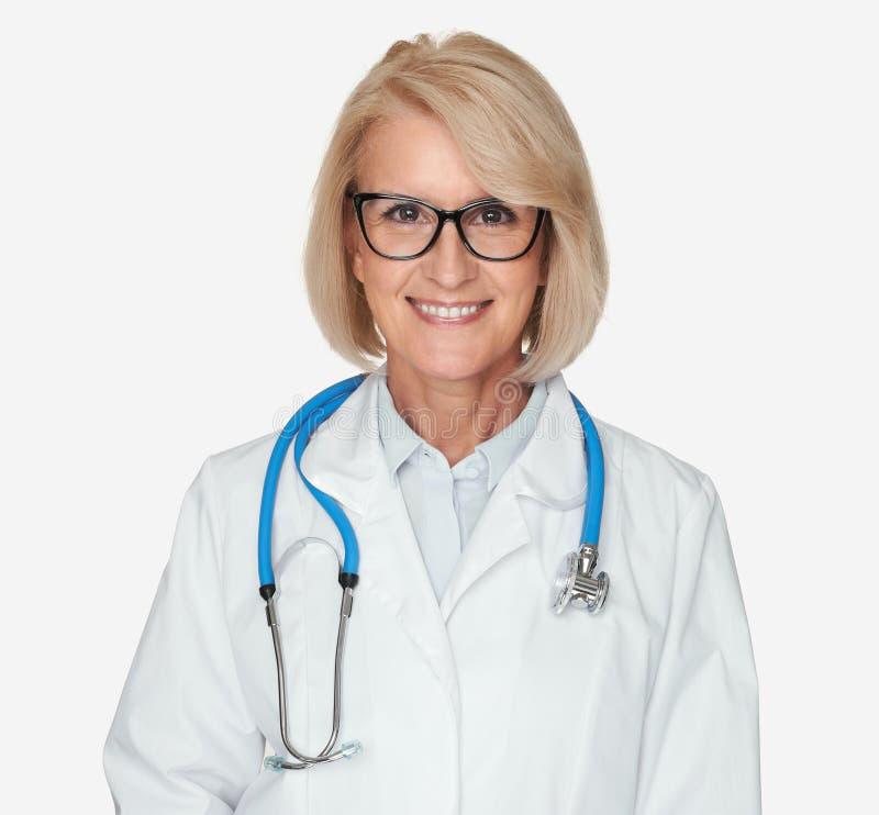 Glimlachende medische Geïsoleerde artsenvrouw royalty-vrije stock foto's