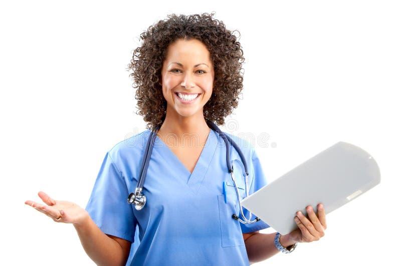 Glimlachende medische verpleegster stock foto's