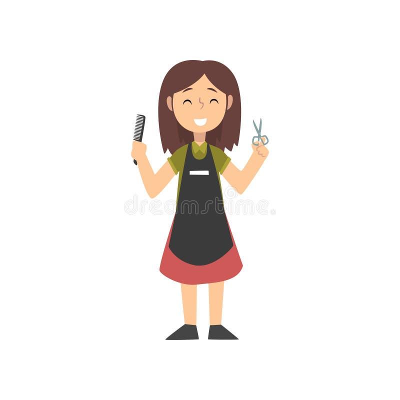 Glimlachende Meisjeskapper Character in Eenvormig met Beroepsuitrusting, Jong geitje die van Toekomstige Beroepsvector dromen royalty-vrije illustratie