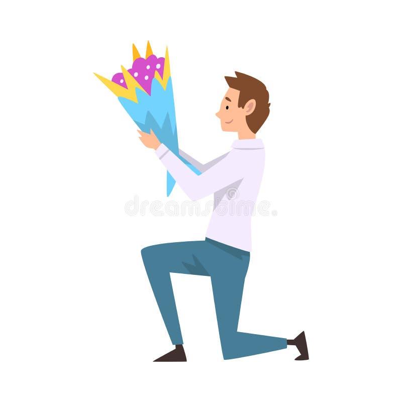 Glimlachende Mens die neer met Boeket van Bloemen knielen, Guy Making Marriage Proposal Vector-Illustratie stock illustratie