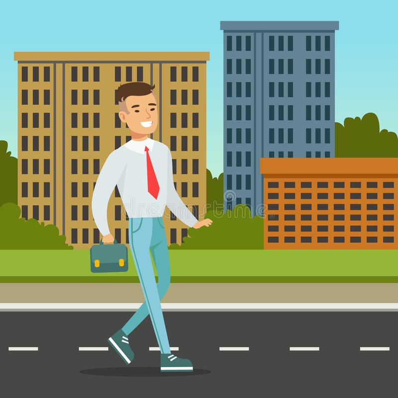 Glimlachende mens die onderaan de straat met blauwe aktentas lopen De achtergrond van de stadsarchitectuur Beambte op zijn manier vector illustratie