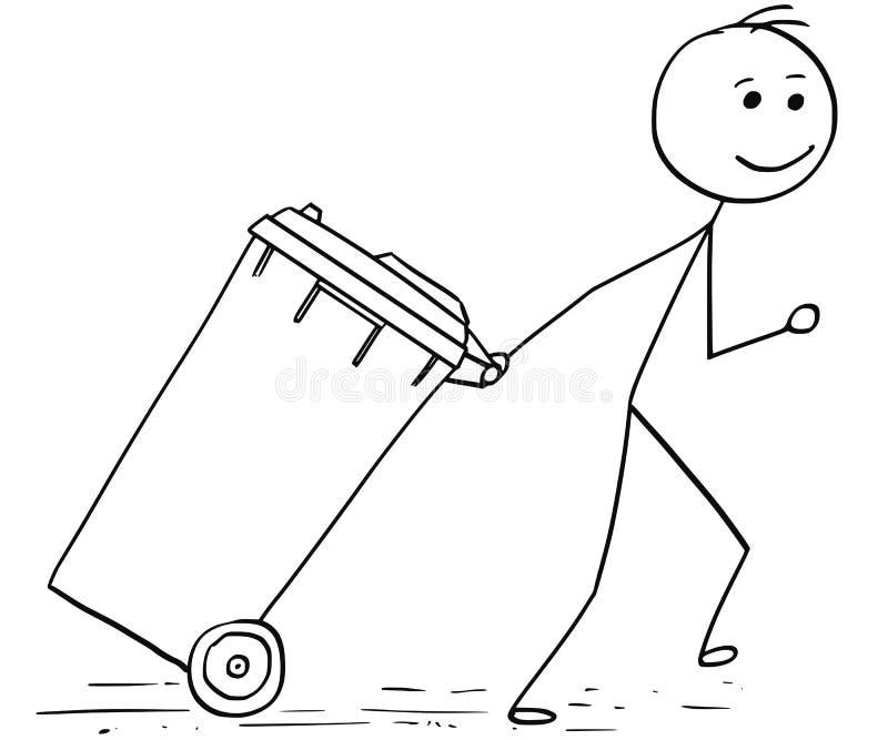 Glimlachende Mens die Wheelie-Bak trekken vector illustratie