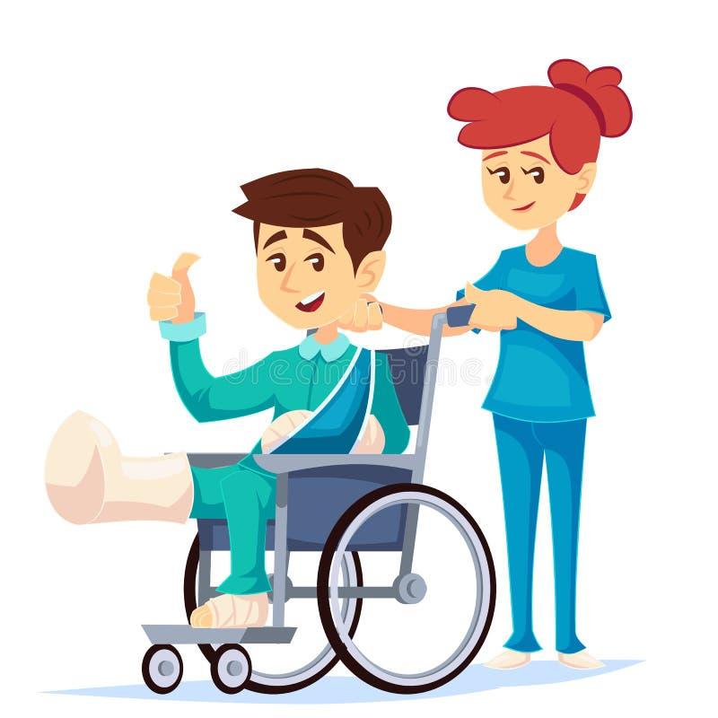 Glimlachende mens in een rolstoel met gebroken beenwapen met een hulp van het verpleegstersziekenhuis Vector beeldverhaalillustra stock illustratie