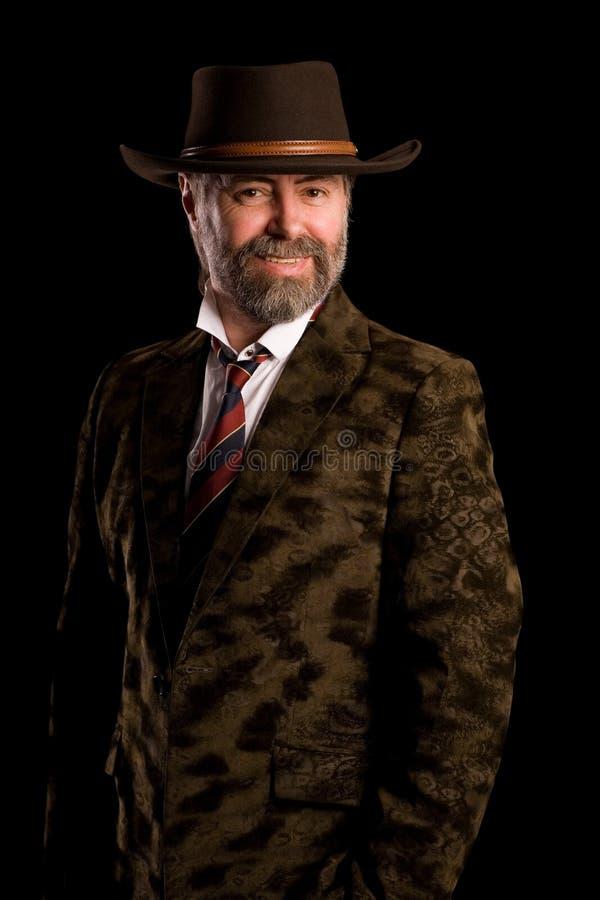 Glimlachende mens in hoed royalty-vrije stock foto