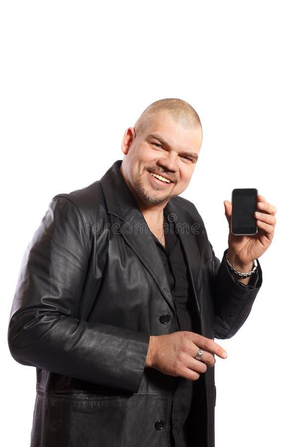 Download Glimlachende Mens Met Celtelefoon Stock Afbeelding - Afbeelding bestaande uit geïsoleerd, midden: 39111789