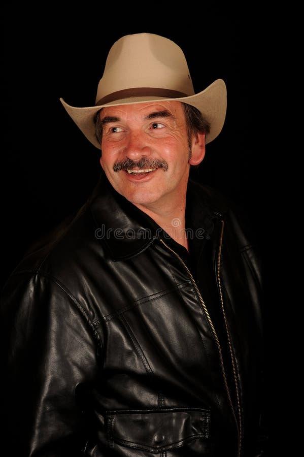 Glimlachende mens met snor royalty-vrije stock afbeeldingen