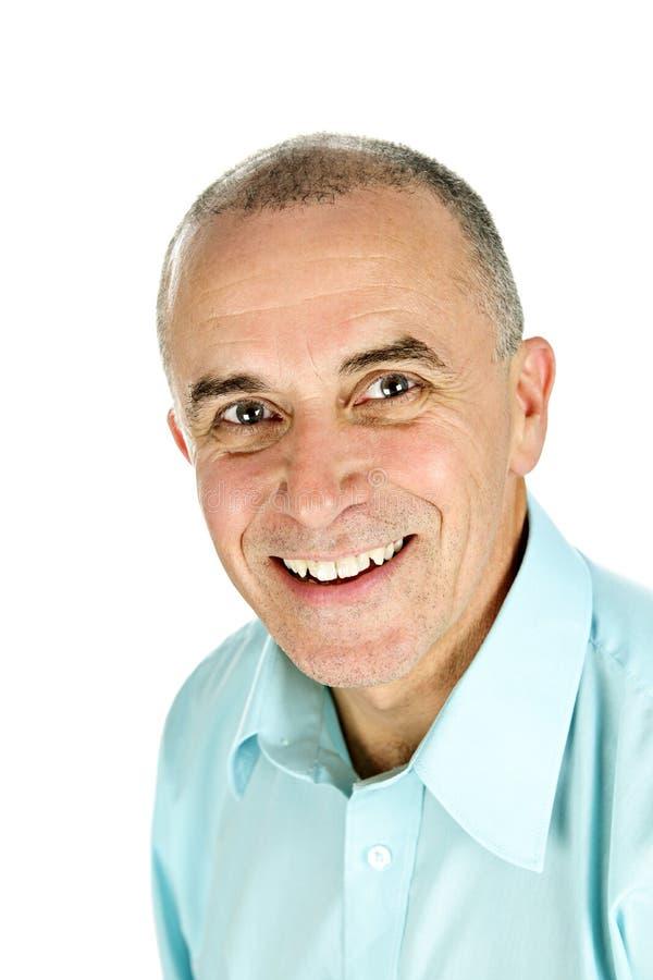 Glimlachende mens op witte achtergrond royalty-vrije stock foto's