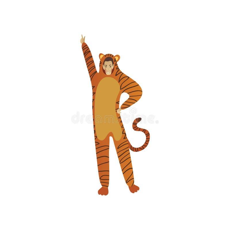 Glimlachende mens in tijgerkostuum het stellen met omhoog hand Uitrusting voor Halloween-partij Het karakter van het beeldverhaal royalty-vrije illustratie