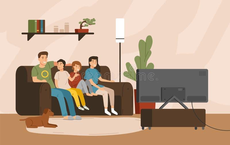 Glimlachende moeder, vader en kinderen die op bank op z'n gemak en het letten op televisietoestel zitten Gelukkige familie het be vector illustratie