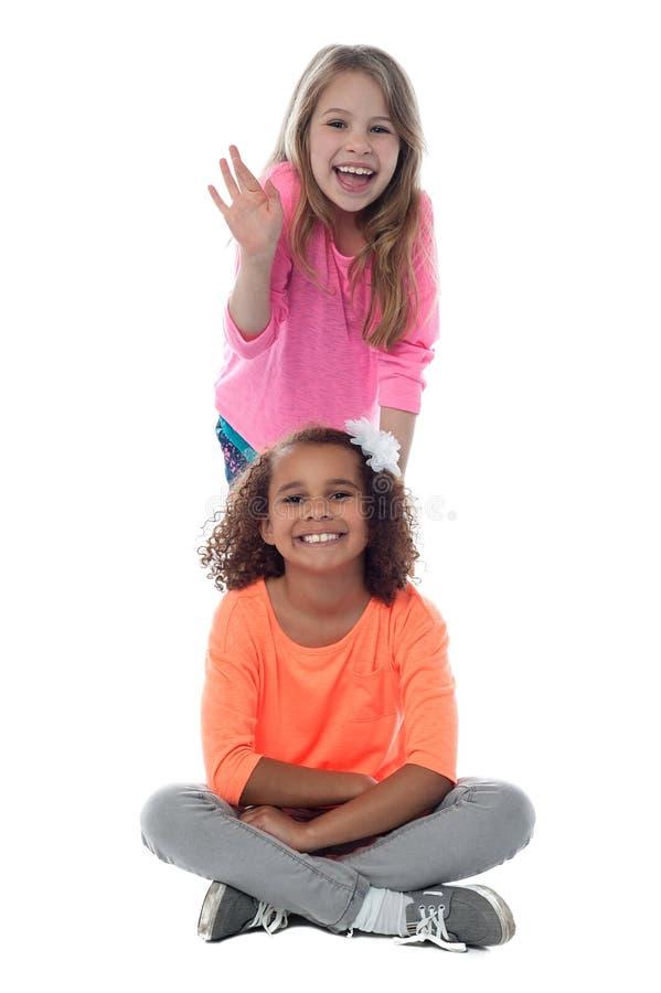 Glimlachende mooie meisjes die samen stellen royalty-vrije stock fotografie