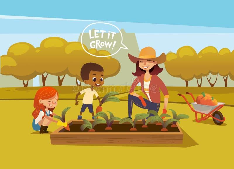 Glimlachende multiraciale kinderen en vrouwelijke landbouwarbeider die in rubberlaarzen en handschoenen groenten in de herfst oog stock illustratie