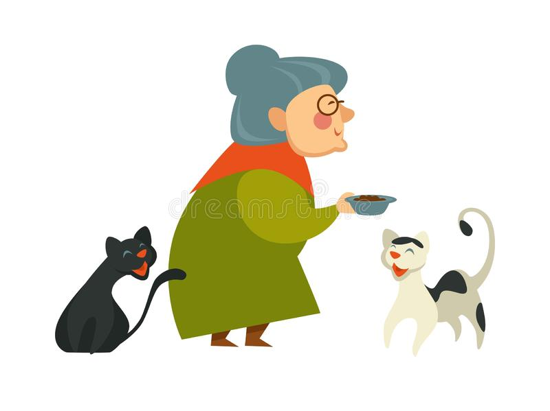 Glimlachende oma die een kom met voedsel voor haar twee katten houden vector illustratie