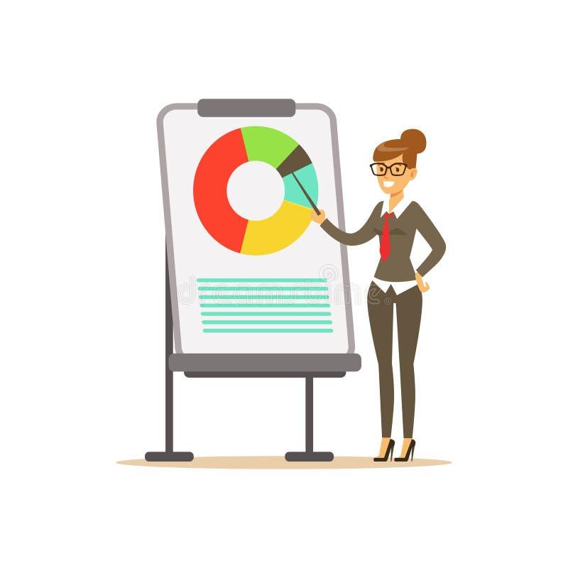 Glimlachende onderneemster die op een whiteboard met grafiek op een presentatie richten, vectorillustratie royalty-vrije illustratie