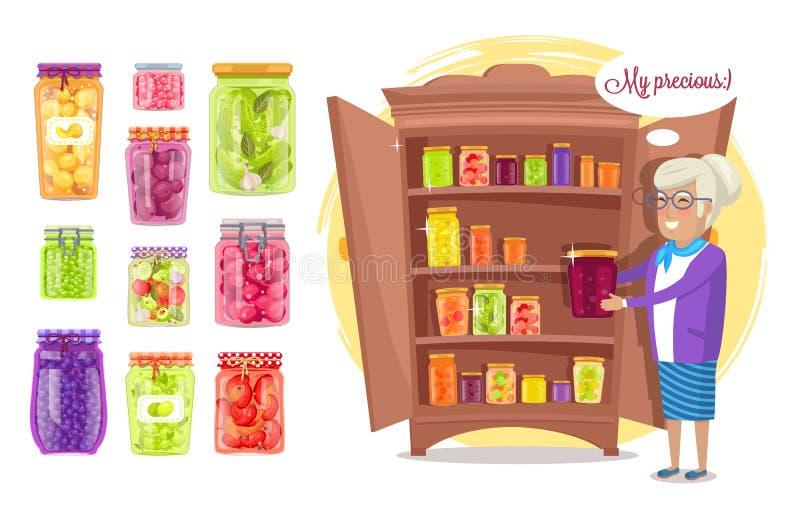 Glimlachende Oude Dame Holding Preserved Food in Kruik stock illustratie