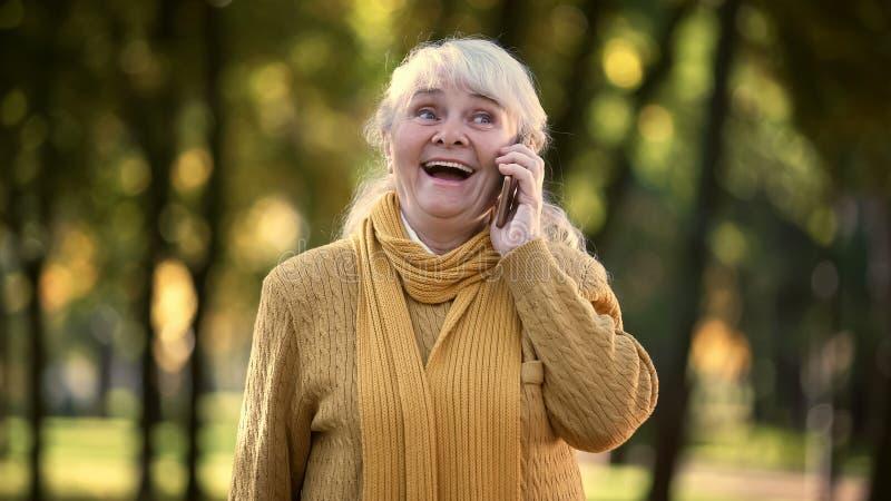 Glimlachende oude vrouw die op mobiele telefoon in park, volledige familie en vrienden spreken stock fotografie