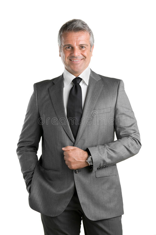 Glimlachende rijpe zakenman stock afbeelding