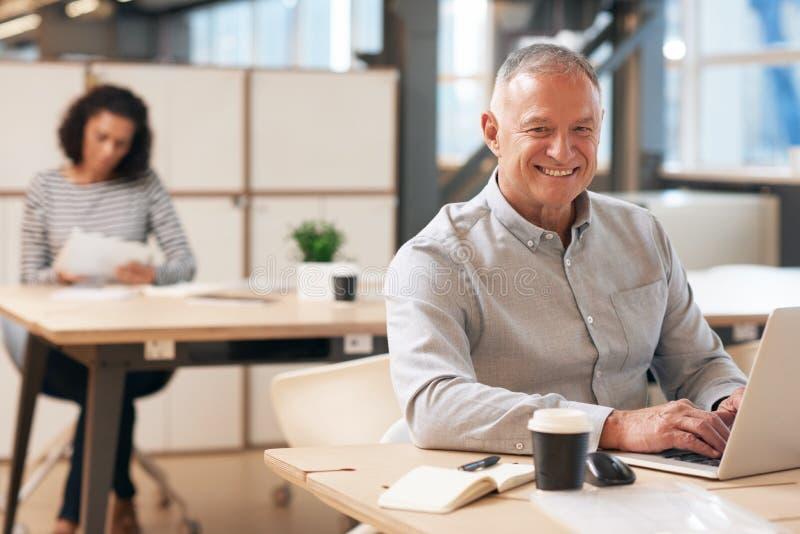 Glimlachende rijpe zakenman die aan laptop in een bureau werken royalty-vrije stock fotografie