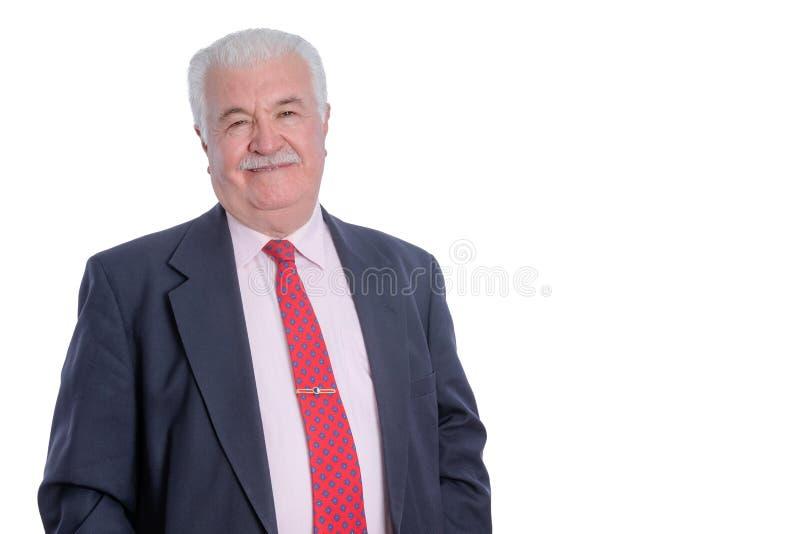 Glimlachende rijpe zakenman in kostuum stock foto's