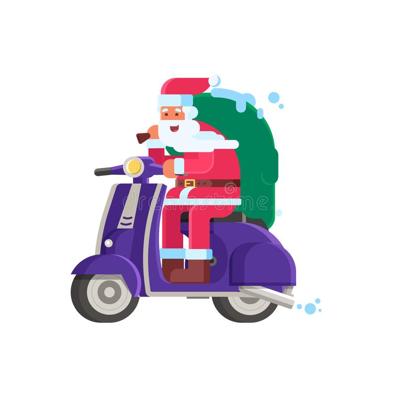 Glimlachende Santa Delivering Gifts op Autoped stock illustratie
