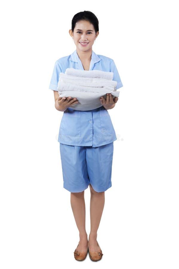 Download Glimlachende Serveerstervrouw Stock Afbeelding - Afbeelding bestaande uit indisch, spaans: 39116595