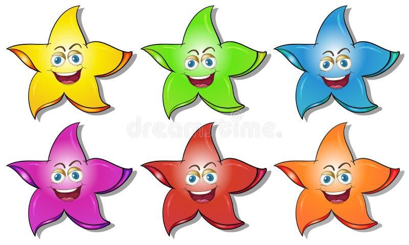 Glimlachende sterren stock illustratie