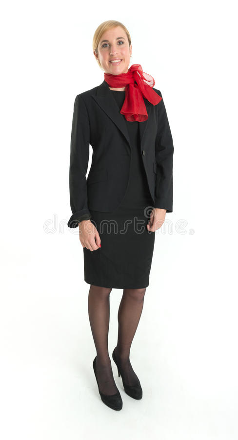 Glimlachende stewardess royalty-vrije stock afbeeldingen