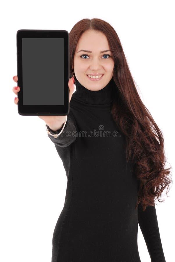 Glimlachende studententiener die een applicatio van de tabletvertoning tonen royalty-vrije stock foto
