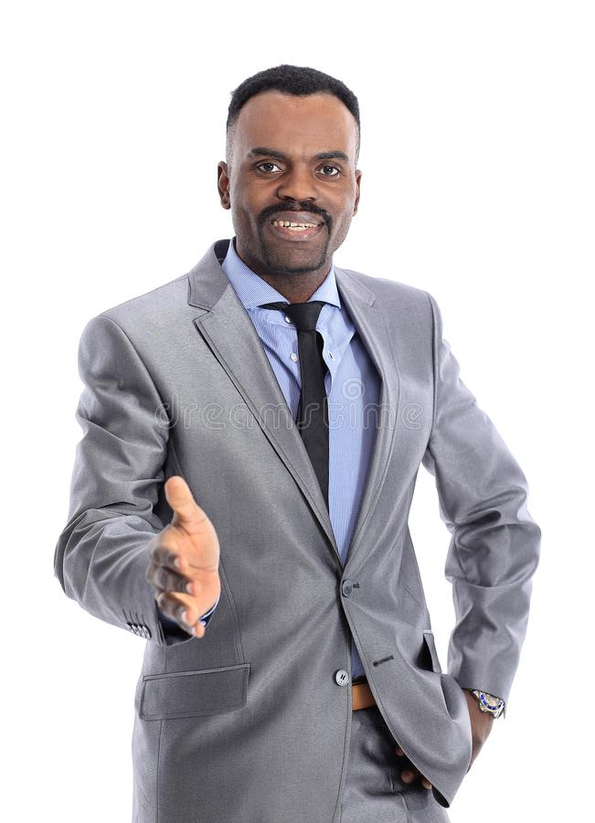 Glimlachende succesvolle Afrikaanse Amerikaanse zakenman die hand geven royalty-vrije stock afbeeldingen