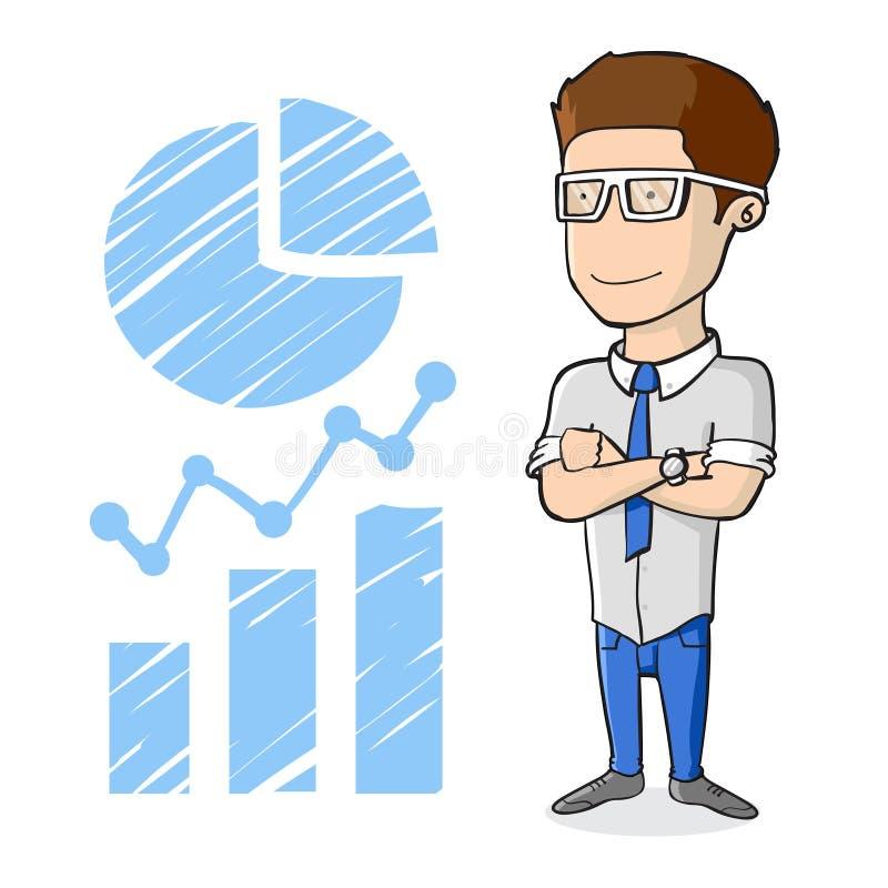 Glimlachende succesvolle zakenman met glazen die zich op Infographics-stijlschets bevinden stock illustratie