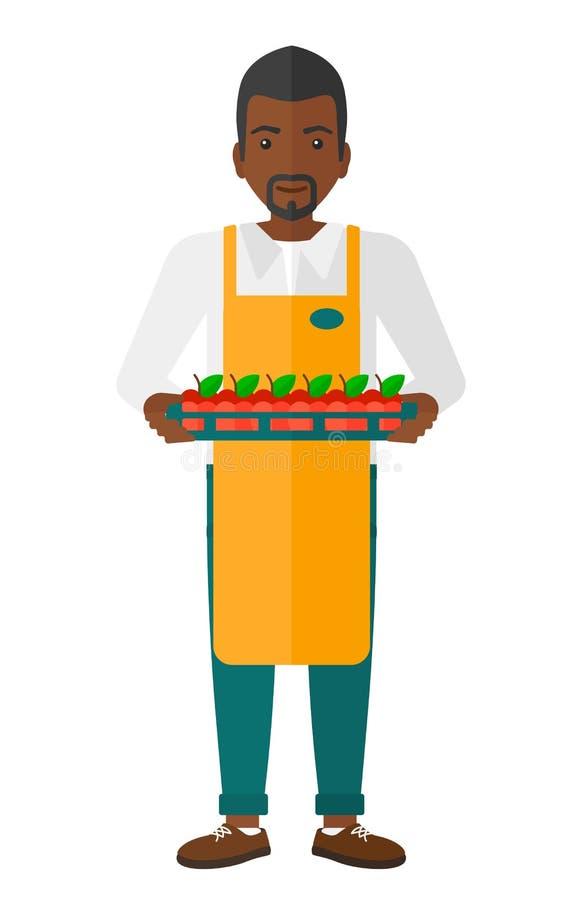 Glimlachende supermarktarbeider vector illustratie