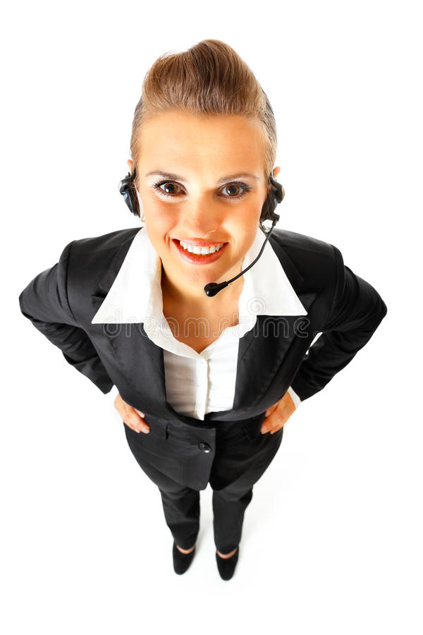 Glimlachende telefoonexploitant met hoofdtelefoon royalty-vrije stock afbeelding