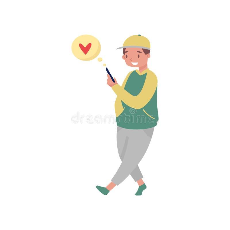 Glimlachende tienerjongen die en liefdeberichten van smartphone lopen lezen Online het dateren en sociaal media thema Vlakke vect vector illustratie