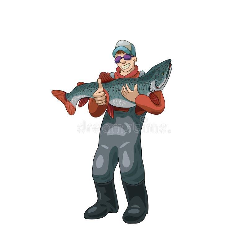 Glimlachende visser die een grote vissen vectorillustratie houden royalty-vrije illustratie