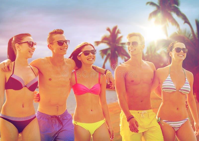 Glimlachende vrienden in zonnebril op de zomerstrand stock foto