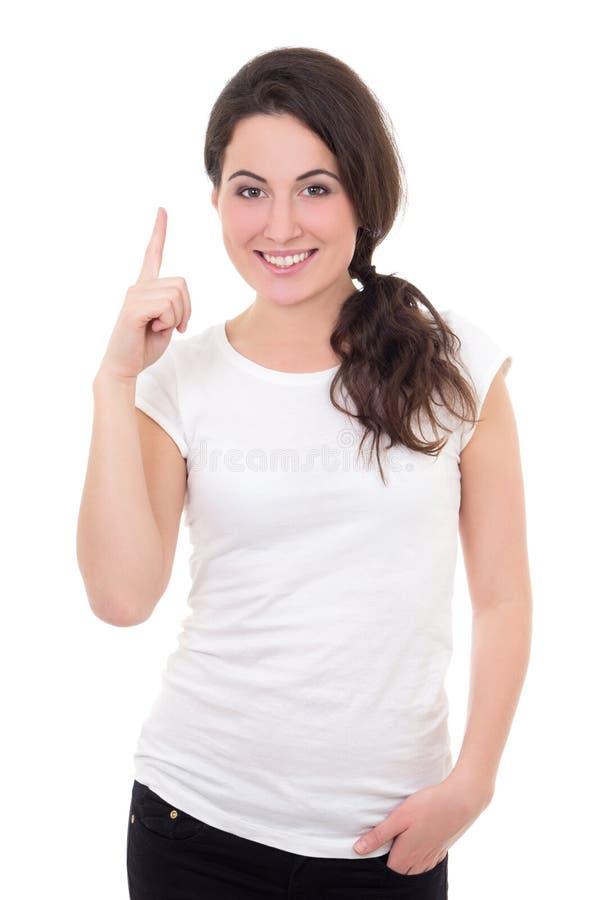 Glimlachende vrouw die ideegebaar tonen dat op witte achtergrond wordt geïsoleerd royalty-vrije stock afbeeldingen