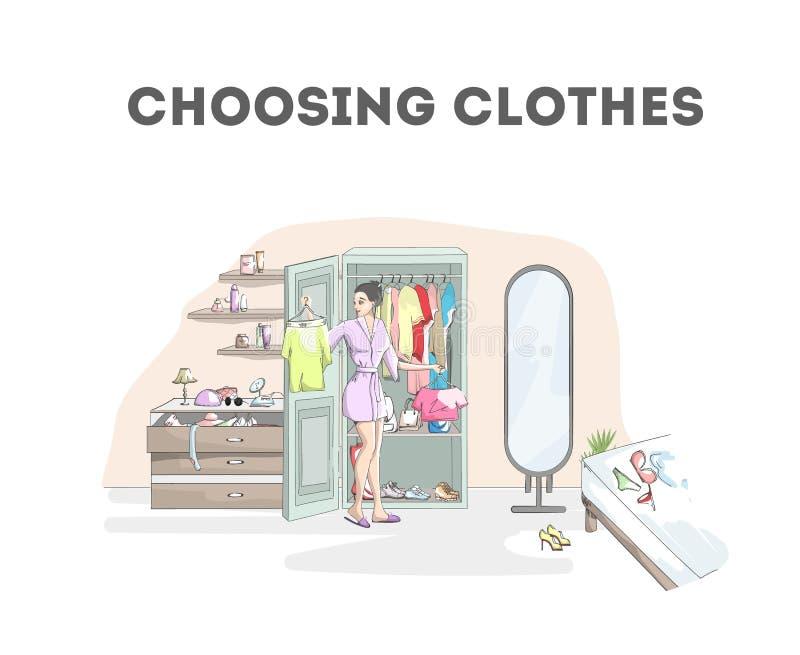 Glimlachende vrouw die kleren in de garderobe kiezen vector illustratie