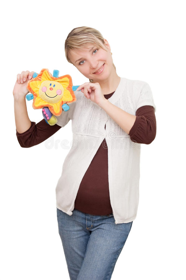 Glimlachende vrouw die zonnig stuk speelgoed houdt royalty-vrije stock foto's