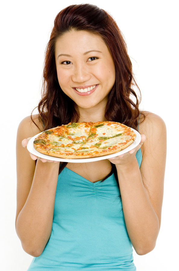 Glimlachende Vrouw en Pizza royalty-vrije stock afbeeldingen