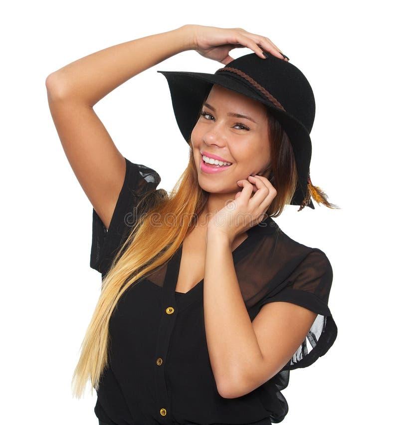 Download Glimlachende Vrouw Met Hoed Stock Afbeelding - Afbeelding bestaande uit up, volwassen: 29504219