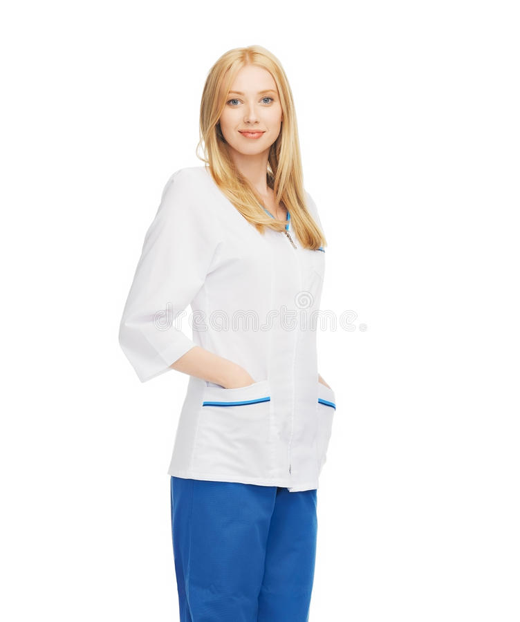 Glimlachende vrouwelijke arts stock afbeeldingen