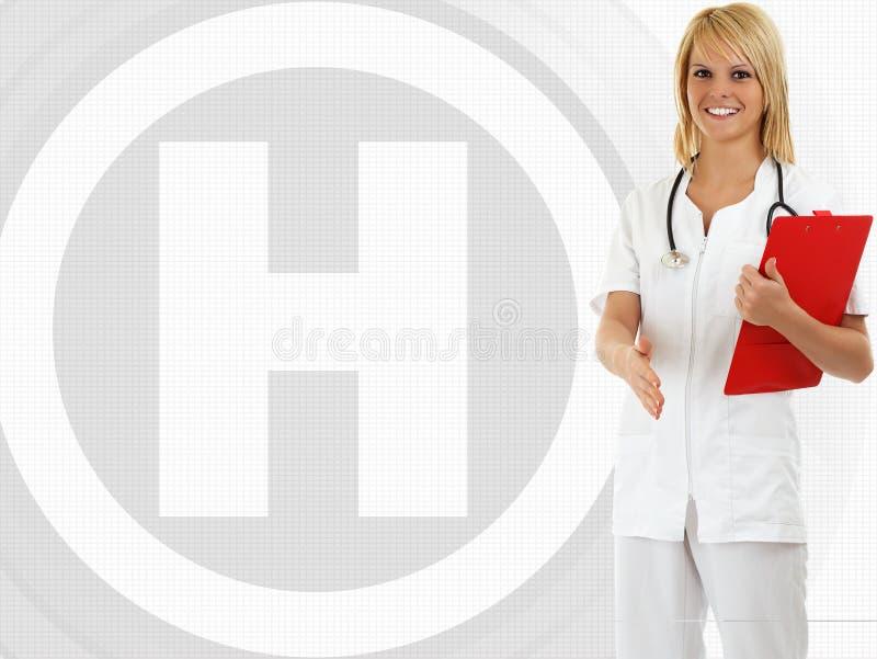 Glimlachende vrouwelijke medische arts met stethoscoop stock afbeeldingen