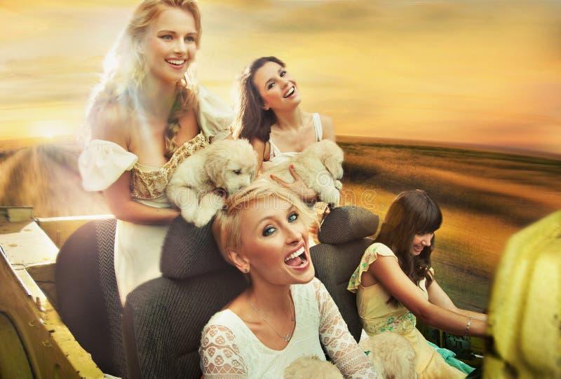 Glimlachende vrouwen die een auto drijven royalty-vrije stock afbeeldingen