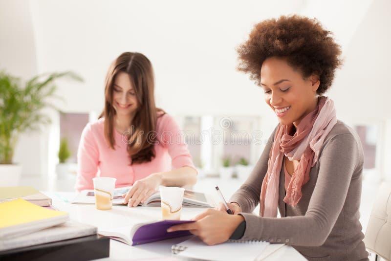 Glimlachende Vrouwen die samen bestuderen royalty-vrije stock fotografie