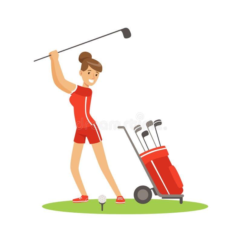 Glimlachende vrouwengolfspeler in rode eenvormig met de vectorillustratie van het golfmateriaal vector illustratie