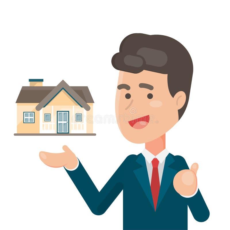 Glimlachende Winkelbediende die een huis, een landgoed en een Huis voor verkoopconcept tonen, Vectorkarakterillustratie vector illustratie