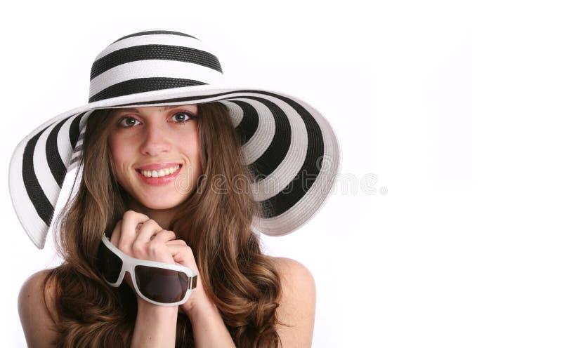 Glimlachende witte vrouw royalty-vrije stock afbeelding
