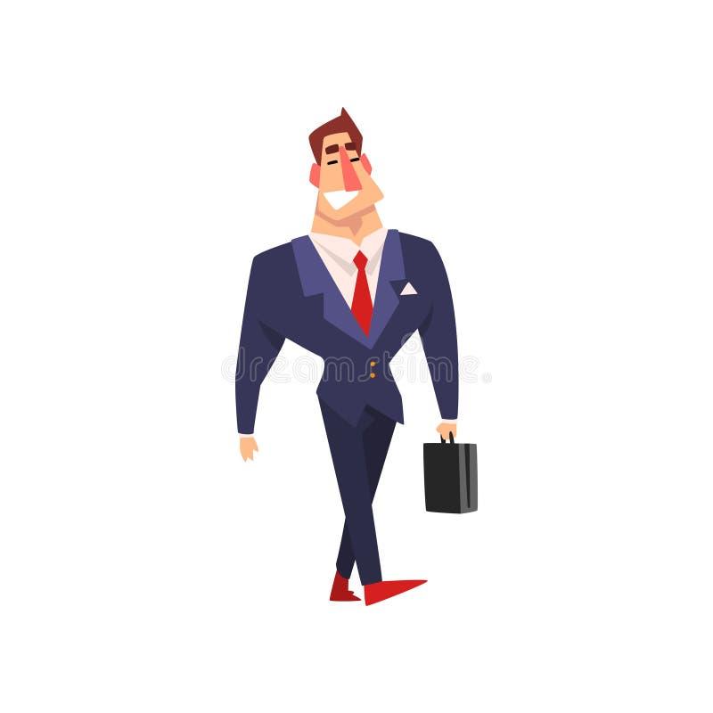 Glimlachende zakenman die met aktentas, de succesvolle vectorillustratie van het bedrijfskarakterbeeldverhaal op een wit lopen royalty-vrije illustratie