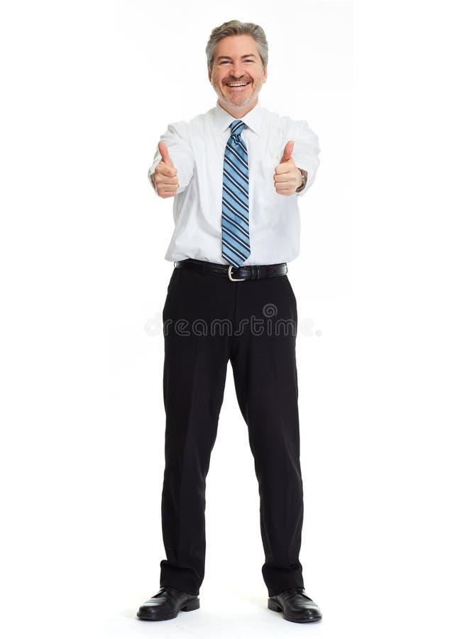 Glimlachende zakenman op witte achtergrond stock foto's