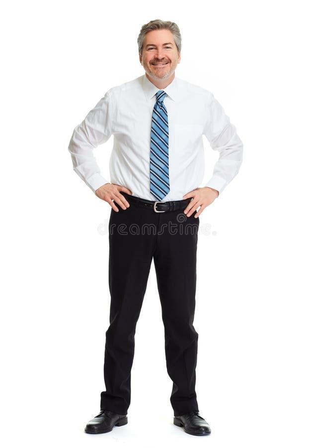 Glimlachende zakenman op witte achtergrond royalty-vrije stock afbeeldingen